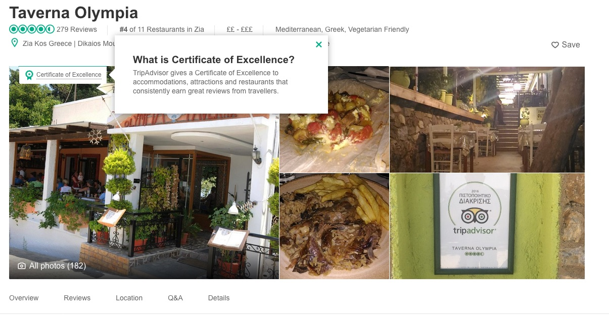 Olympia Restaurant at Zia Kos Tripadvisor certificate of excelence 2017